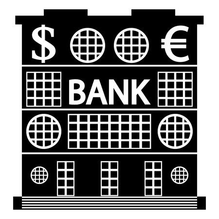 depository: Bank icon on white background, style of constructivism.  Illustration
