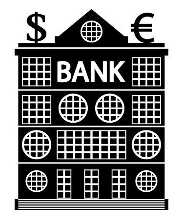 functionalism: Bank icon on white background, style of constructivism.  Illustration