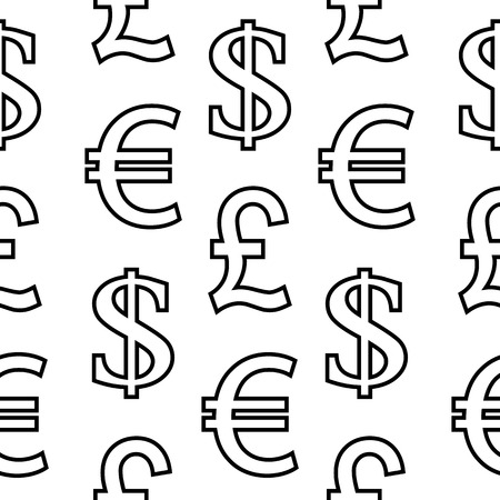 currency symbols: Currency symbols seamless pattern on white background.  Illustration