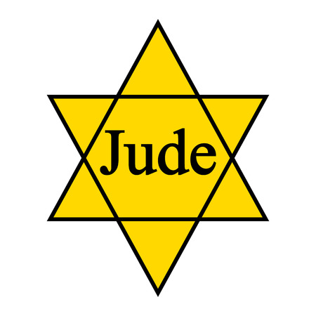 world war two: Yellow star Jude icon on white background. Yellow David Star was used in ghetto and concentration camps. Vector illustration.