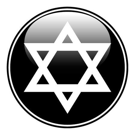 Magen David symbol button on white background. Vector illustration. Ilustrace