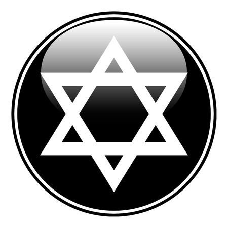 magen: Magen David symbol button on white background. Vector illustration. Illustration