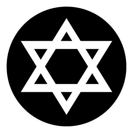 hebrew bibles: Magen David symbol button on white background. Vector illustration. Illustration