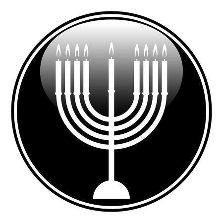 Chanukah symbol button on white background. Vector illustration. Vector