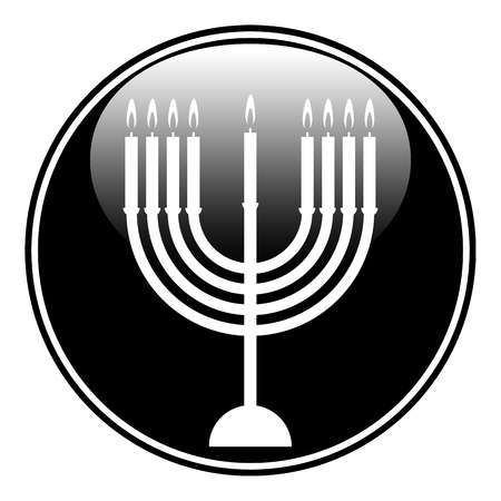 Chanukah symbol button on white background. Vector illustration. Vector