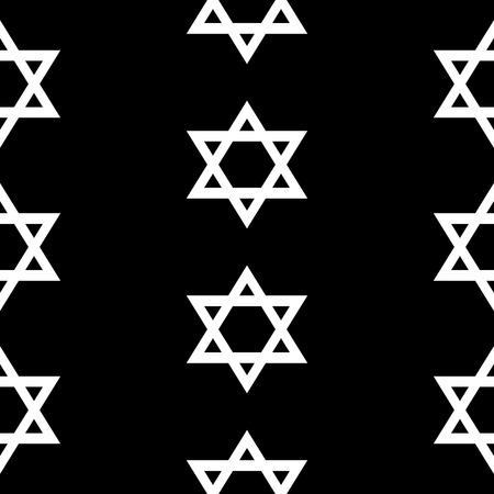 hebrew bible: Magen David seamless pattern on black background. Vector illustration. Illustration