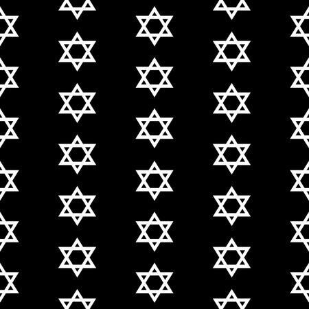magen: Magen David seamless pattern on black background. Vector illustration. Illustration