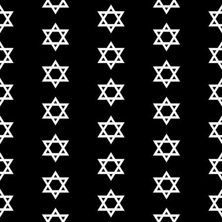 Magen David seamless pattern on black background. Vector illustration. Illustration