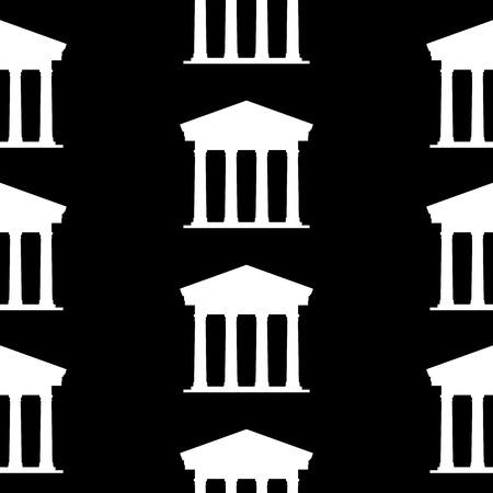 depository: Bank symbol seamless pattern on black background. Vector illustration.