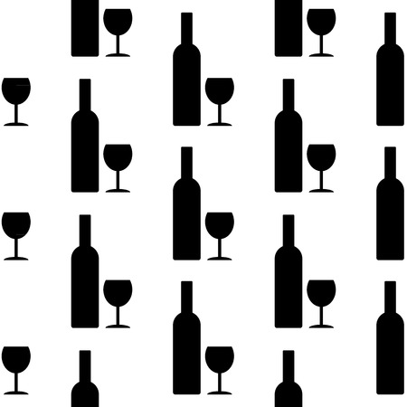 glasse: Bottle and glasse icon seamless pattern on white background. Vector illustration.