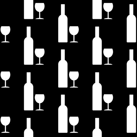 glasse: Bottle and glasse icon seamless pattern on black background. Vector illustration.