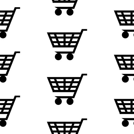 Cart icon seamless pattern on white background. Vector illustration. Vector