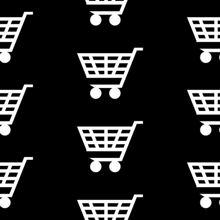 Cart icon seamless pattern on black background. Vector illustration. Vector