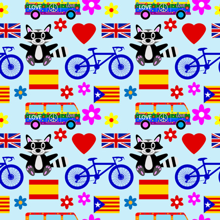 Different icons seamless pattern on blue background. Vector illustration. Vector