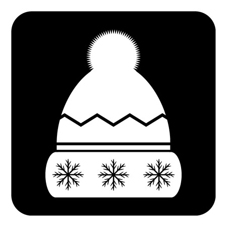 Winter hat symbol button on white background. Vector illustration. Illustration