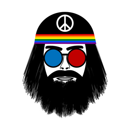 Hippie face icon on white background. Vector illustration. Vector