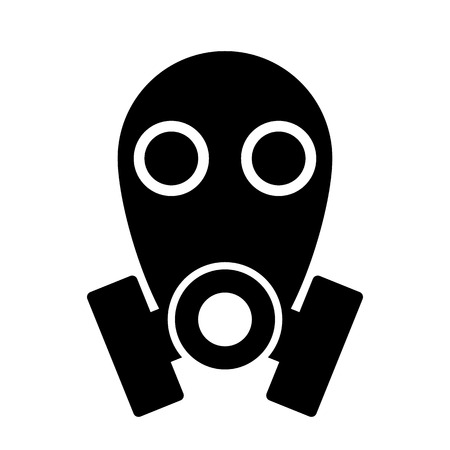 biological warfare: Gas mask icon on white  Illustration