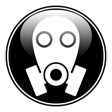 respire: Gas mask symbol button on white background. Vector illustration. Illustration