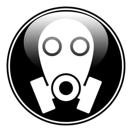 army gas mask: M�scara de gas bot�n s�mbolo sobre fondo blanco. Ilustraci�n del vector. Vectores
