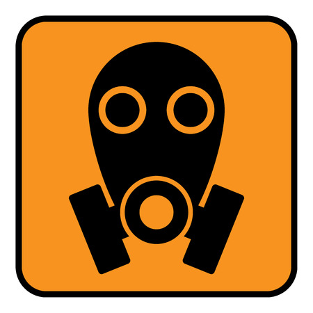 chemical warfare: Gas mask sign on white background. Vector illustration. Illustration