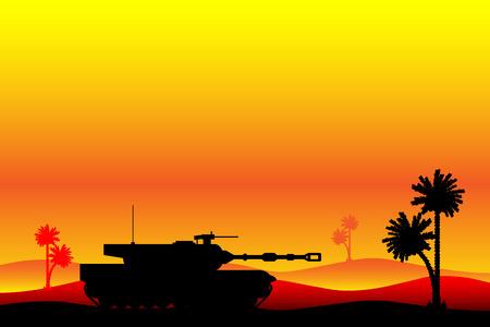 wartime: Modern heavy tank in desert at sunset. Vector illustration. Illustration