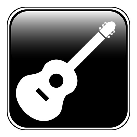 Guitar sign button on white background. Vector illustration.