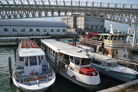 pleasure craft: VENICE, ITALY - FEBRUARY 18, 2014: Modern passenger pleasure craft in port of Venice. Editorial
