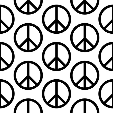 disarmament: Peace symbol seamless pattern on white background. Vector illustration.