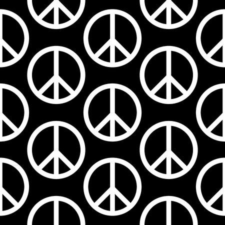 treaty: Peace symbol seamless pattern on black background. Vector illustration. Illustration