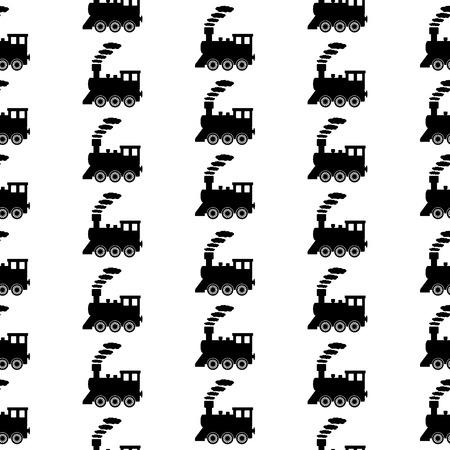 Locomotive symbol seamless pattern on white background. Vector illustration. Vector