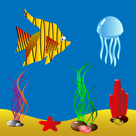 Vector illustration of a sea life. Vector