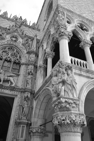 ducale: Architectural detail of the Doges Palace (Palazzo Ducale) in Venice, Italy. Black and white. Editorial