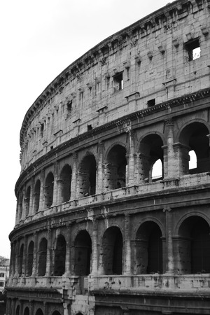 The Colosseum in Rome. Black and white. Imagens
