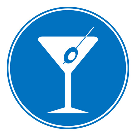 glasse: Martini sign is allowed to drink on white background.  Illustration