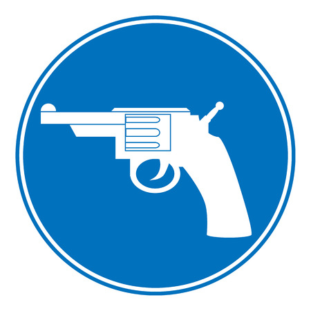 Revolver allowing sign on white background. Vector illustration. Vector