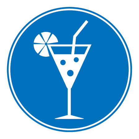 glasse: Cocktail sign is allowed to drink on white background