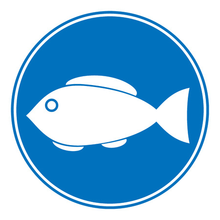 fishy: Sign of fishing allowed on white background. Vector illustration.