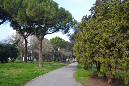 rimini: City park in center of Rimini, Italy. Stock Photo