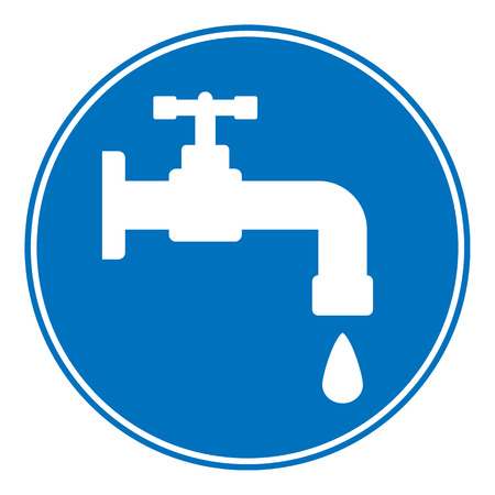 Water tap button on white background. Vector illustration.