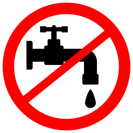 leakage: No water tap sign on white background. Vector illustration.