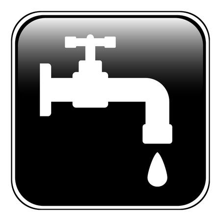 Water tap button on white background. Vector illustration. Vector