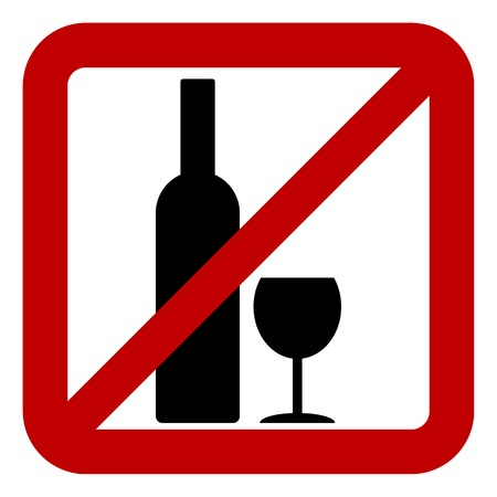 Sign of prohibition of alcohol on white background. Vector illustration. Vector