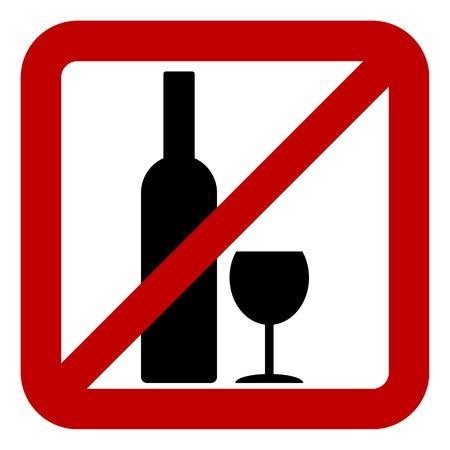 glasse: Sign of prohibition of alcohol on white background. Vector illustration. Illustration