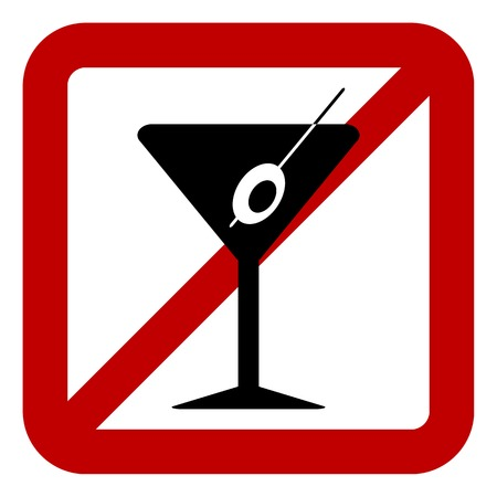 glasse: Sign of prohibition of alcohol on white background. Vector illustration. Illustration