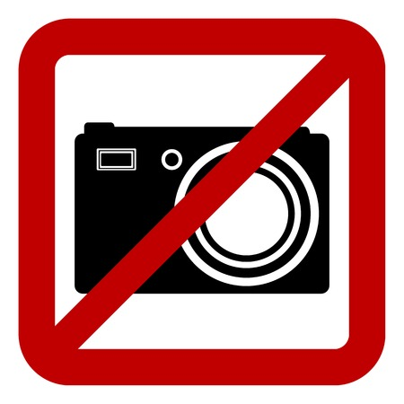 Sign of prohibition of photo camera on white background. Vector illustration. Vector