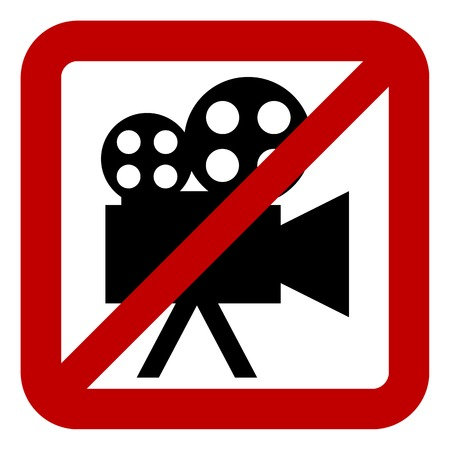 Sign of prohibition of video camera on white background. Vector illustration. Vector