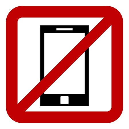 sign not to talk by phone: No phone sign on white background. Vector illustration.