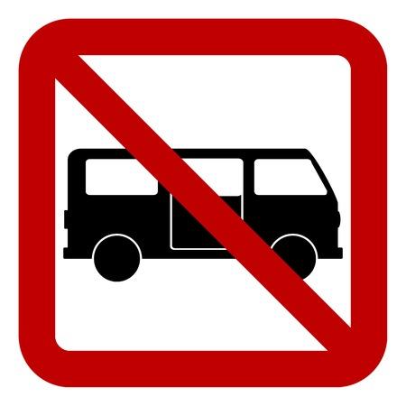 minibus: No minibus sign on white background. Vector illustration.
