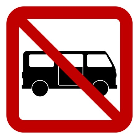 No minibus sign on white background. Vector illustration.