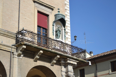 cavour: Balcony of old medieval buildings on Piazza Cavour in the center of Rimini, Italy. Editorial